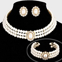 Rhinestone Trimmed Pearl Necklace Jewelry Set