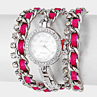 Crystal Dial Leather Chain Wrap Watch