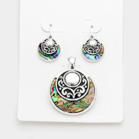 Filigree Abalone Round Magnetic Pendant Set