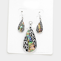 Abalone Filigree Teardrop Magnetic Pendant Set