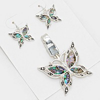 Abalone butterfly pendant set