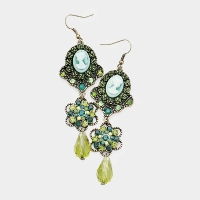 Floral crystal dangle cameo earrings