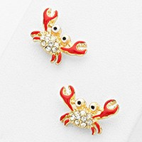 CRAB CRYSTAL ACCENTED STUD EARRINGS
