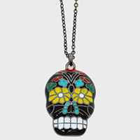 Enamel Day of the Dead Skull Pendant Necklace