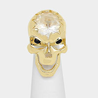 CRYSTAL SKULL STRETCHABLE RING