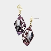 Crystal detail geo metal earrings