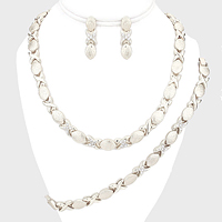 Rhinestone Accented Necklace Jewelry Set