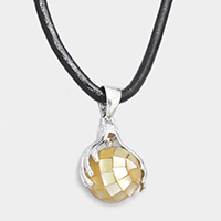 Faux Leather Stone Accented Pendant Necklace