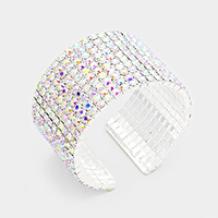 10 Row Crystal Rhinestone Evening Cuff Bracelet