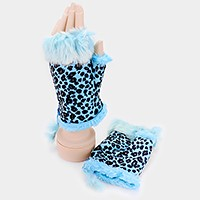Fur lined leopard fingerless gloves