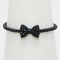 Crystal Pave Bow Metal Bead Stretch Bracelet