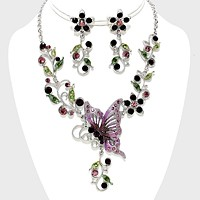 Butterfly Accented Flower Rhinestone Necklace