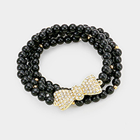 4Layers Crystal bow stack stretch bracelet