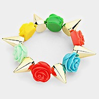Rose & spike stretch bracelet