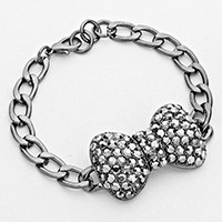 Crystal Pave Bow Curb Chain Bracelet