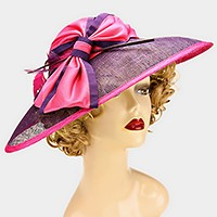 Dressy color block bow sinamay hat