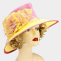 Dressy color block flower sinamay hat