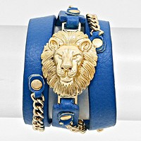 Lion Accented Leather Band Bracelet