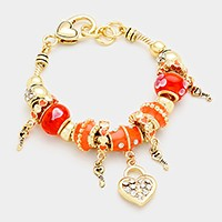 Multi-bead crystal heart lock charm bracelet