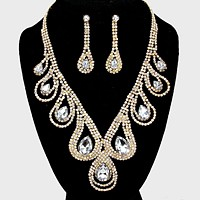 Crystal Rhinestone Droplet Evening Necklace