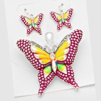 BUTTERFLY CRYSTAL ACCENTED MAGNETIC PENDANT SET