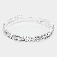 2-Lined Crystal Rhinestone Adjustable Bracelet
