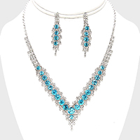 V-Neck Collar Rhinestone Necklace