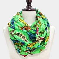 Colorful feather print infinity scarf