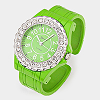 Crystal Accented Dial Metal Cuff Watch