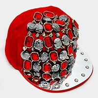 Multi-stud button metal brim cap