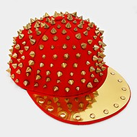 Studded metal brim cap