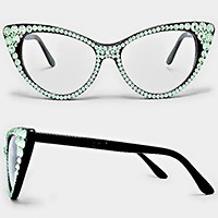 Crystal Cat Eye Clear Lens Sunglasses