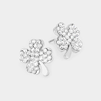 Crystal Pave Clover Stud Earrings