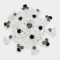 Crystal rhinestone metal mesh flower hair comb stick