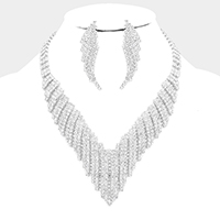 Crystal Rhinestone Pave Jagged Collar Evening Necklace