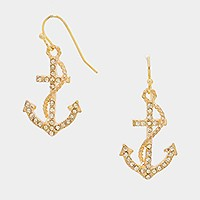 CRYSTAL ACCENTED ANCHOR DROP EARRINGS