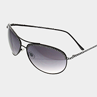 Crystal Trimmed Aviator Sunglasses