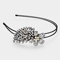 FLOWER CRYSTAL RHINESTONE WIRE HEADBAND