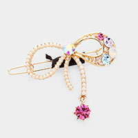 Pearl Colorful Stone Bow Barrette