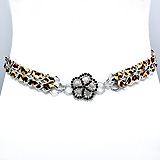 Crystal Flower Centered Leopard Belt
