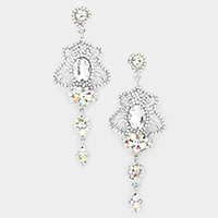 Marquise Stone Trim Dangle Evening Earrings