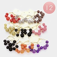 12 Pairs - Metal mesh beads hoop earrings