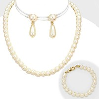 3-PCS Pearl Necklace Jewelry Set
