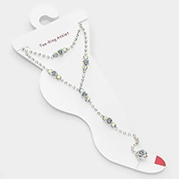 Metal rose embellished crystal rhinestone anklet