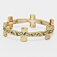 Footprints Cross Stretch Bracelet