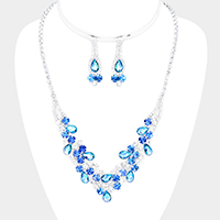 Floral Crystal Teardrop Detail Necklace