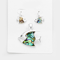 abalone fish Pendant Set