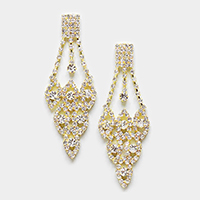 Pave Crystal Oval Cluster Chandelier Evening Earrings