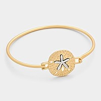 Two tone metal sand dollar hook bracelet