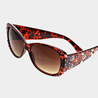 Petal Crystal Accented Sunglasses